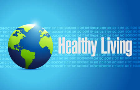 healthy living binary globe background sign concept illustration design graphic Çizim
