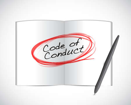 conduct: code of conduct book selection illustration design graphic