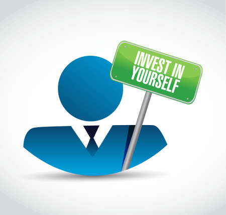 message board: invest in yourself people board sign message illustration design graphic Illustration