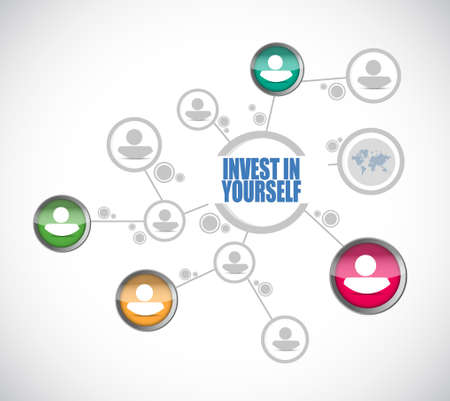 invest: invest in yourself people diagram sign message illustration design graphic Illustration