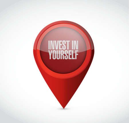 invest: invest in yourself pointer sign message illustration design graphic