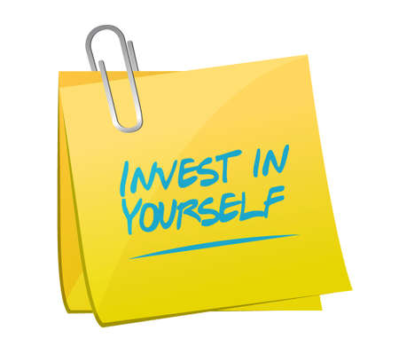 invest: invest in yourself memo post sign message illustration design graphic Illustration
