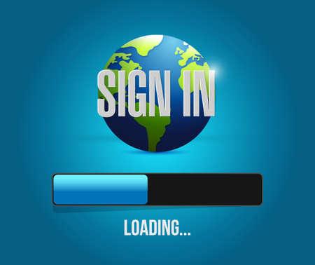 sign in global loading bar illustration design graphic