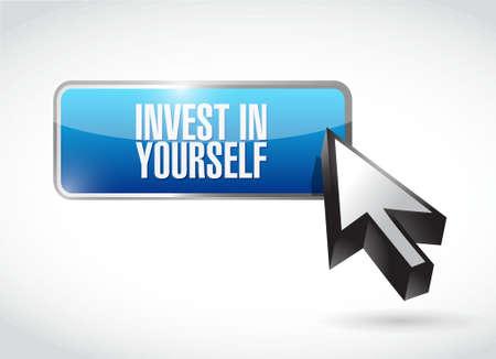 investeren in jezelf knop bericht te ondertekenen illustratie grafisch Vector Illustratie