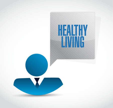 healthy living: healthy living businessman sign concept illustration design graphic