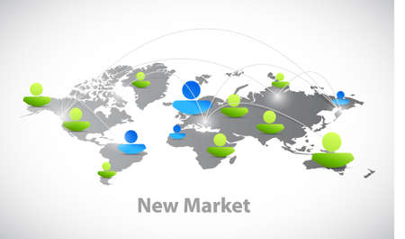 new opportunity: new market connections world map avatars illustration design graph
