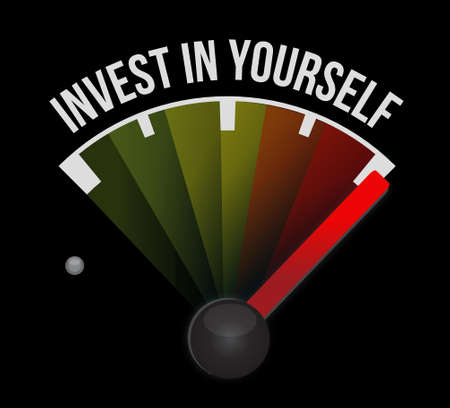 invest in yourself meter sign message illustration design graphic