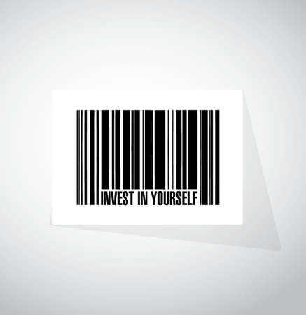invest: invest in yourself barcode sign message illustration design graphic