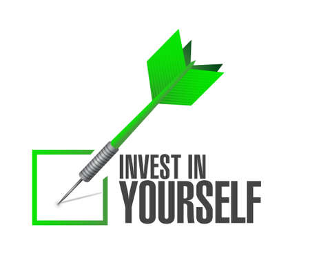invest: invest in yourself check dart sign message illustration design graphic Illustration