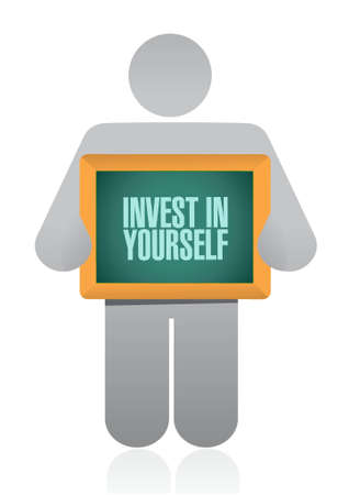 invest: invest in yourself holding sign message illustration design graphic Illustration