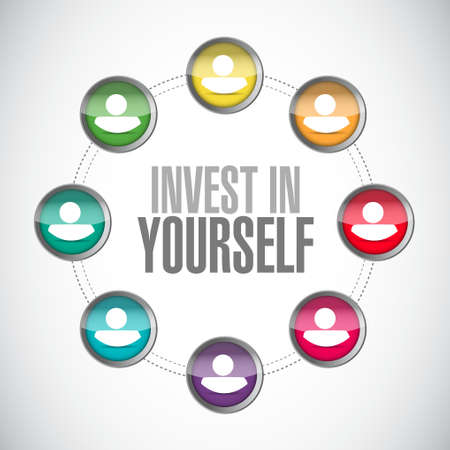 invest: invest in yourself connections sign message illustration design graphic