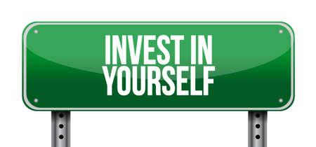 investeren in jezelf weg bericht te ondertekenen illustratie grafisch