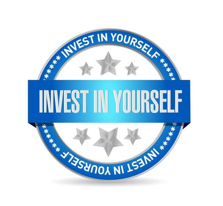 invest: invest in yourself seal sign message illustration design graphic Illustration