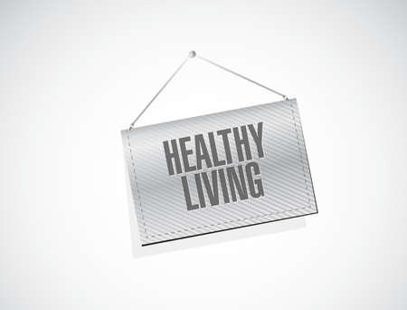 healthy living: healthy living hanging banner sign concept illustration design graphic