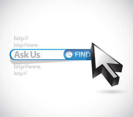 reach out: ask us search bar illustration design graphic