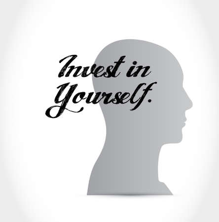 invest: invest in yourself thinking brain sign message illustration design graphic