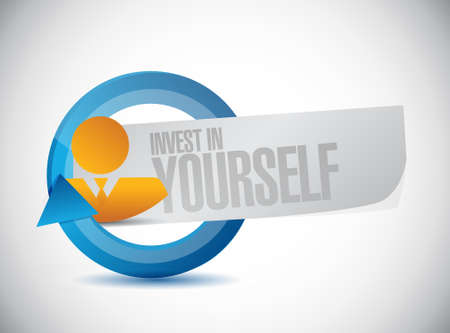 invest: invest in yourself businessman cycle sign message illustration design graphic
