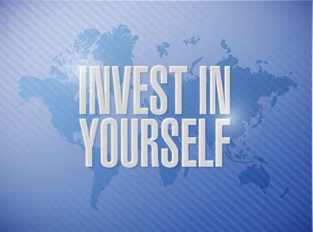 investeren in jezelf wereldkaart teken bericht illustratie grafisch