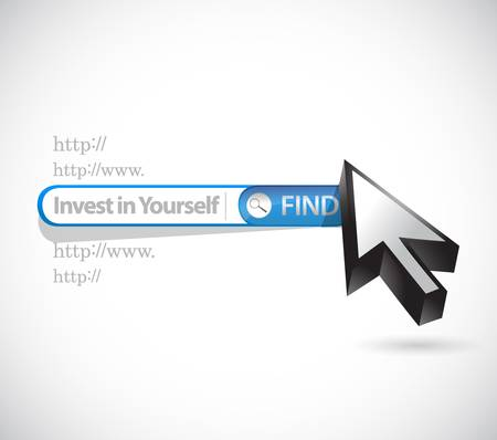 to invest: invest in yourself search bar sign message illustration design graphic Illustration