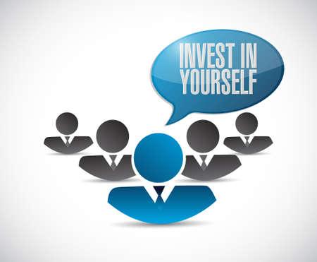 investeren in jezelf teamwork bericht te ondertekenen illustratie grafisch