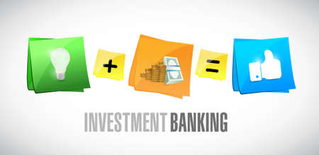 Investment Banking nota adesiva set illustrazione grafica