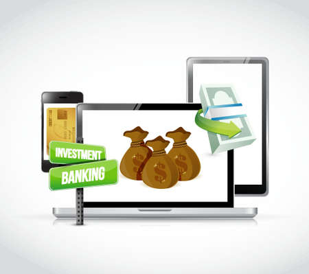 review: Investment Banking concept on a set of responsive gadgets. illustration design Illustration