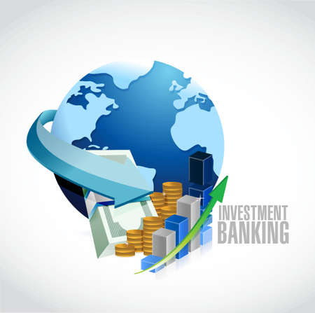 Investment Banking sign globe and business money illustration design graph