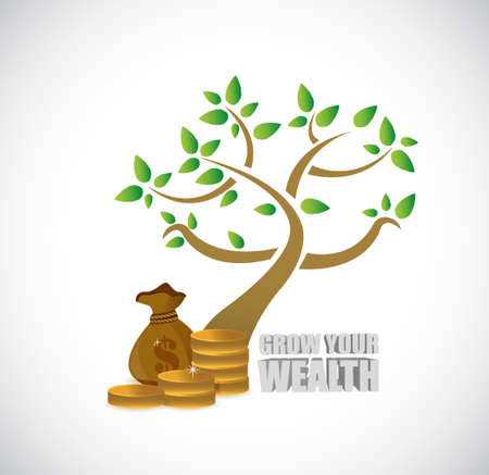 wealth concept: grow your wealth tree and business profits sign concept illustration design graphics