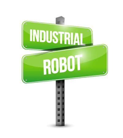 post office building: industrial robot sign concept illustration design graphics