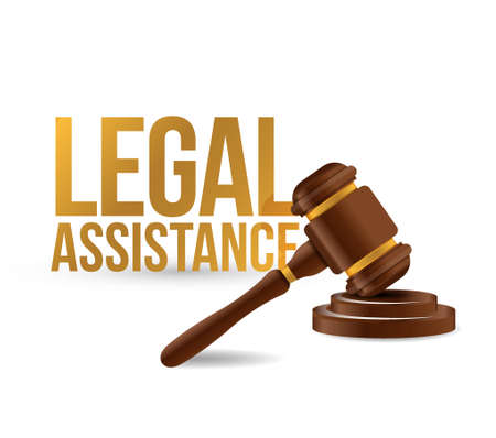 legal law: Legal assistance law hammer sign concept illustration design graphics