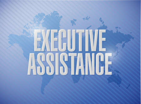 md: executive assistance world map background sign concept illustration design graphic