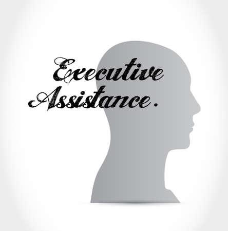 executive assistance thinking brain sign concept illustration design graphic Illustration