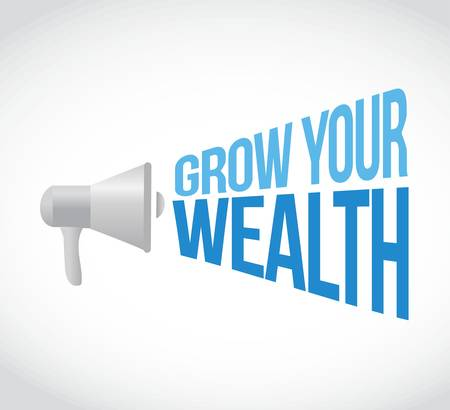 grow money: grow your wealth loudspeaker sign concept illustration design graphics