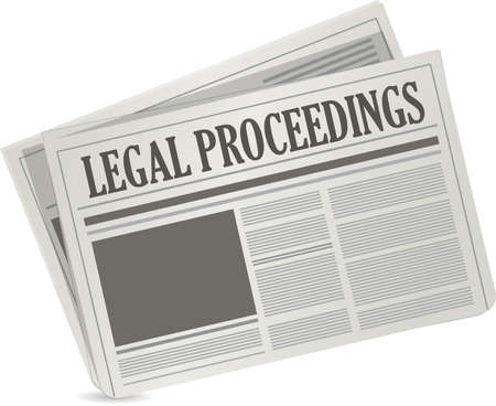 proceedings: legal proceedings newspaper sign concept illustration design Illustration