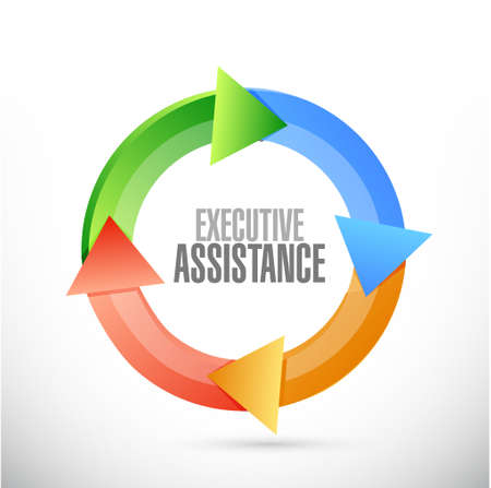 executive assistance color cycle sign concept illustration design graphic