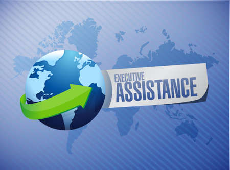 md: executive assistance globe sign concept illustration design graphic Illustration