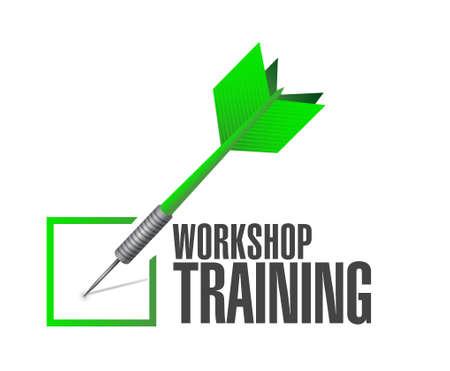 Workshop training check dart sign concept illustration design graphic