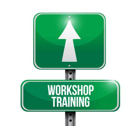 Workshop training road sign concept illustration design graphic