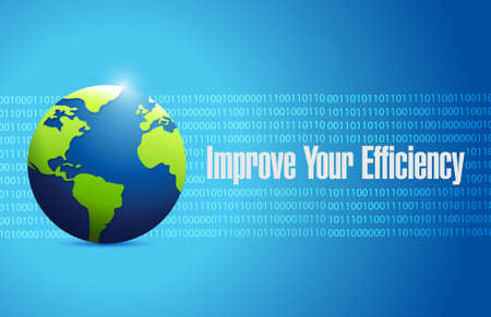 binary globe: Improve Your Efficiency binary globe sign concept illustration design graph