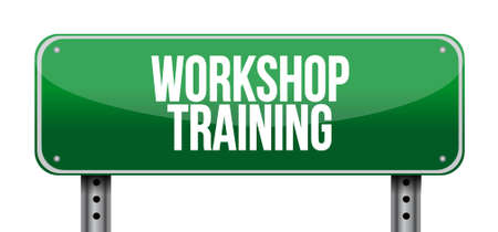 studing: Workshop training road sign concept illustration design graphic
