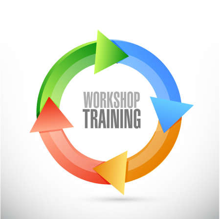 changing course: Workshop training cycle sign concept illustration design graphic