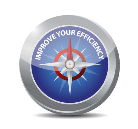 accomplish: Improve Your Efficiency compass sign concept illustration design graph