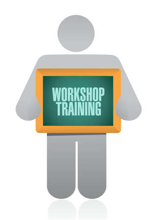 studing: Workshop training holding sign concept illustration design graphic