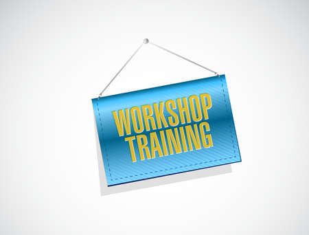 studing: Workshop training banner sign concept illustration design graphic