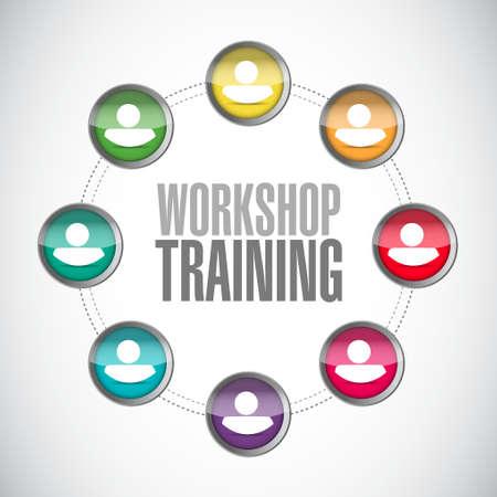 Werkstatt Ausbildung von Menschen Netzwerk-Diagramm-Zeichen-Konzept, Illustration, Design Grafik