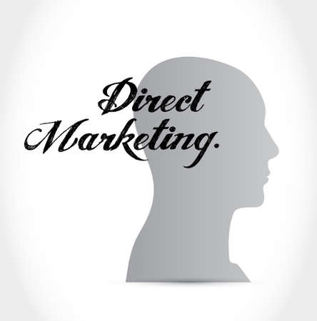 direct marketing: direct marketing thinking brain sign concept illustration design graphic