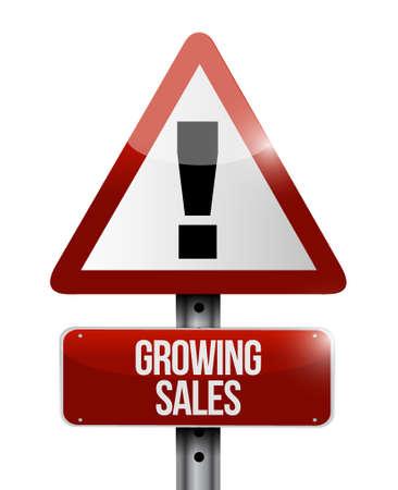 growing sales warning road sign concept illustration design graphic