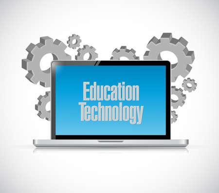 computer education: education technology laptop computer sign concept illustration design graphic