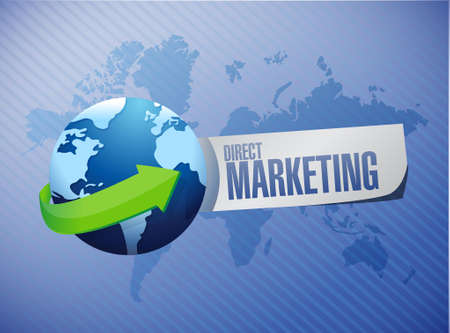 direct marketing: direct marketing globe paper sign concept illustration design graphic Illustration