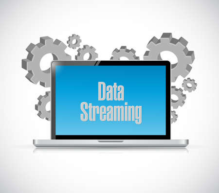 storage device: data streaming laptop sign concept illustration design graphic